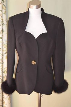Black Jacket with FOX Fur Cuffs Film Noir Retro Style PSI Couture sz 8 by luvkitsch on Etsy Film Noir, Fox Fur, Retro Style, Vintage Clothing, Vintage Outfits, Retro Fashion, Cuffs, Retro Styles, Cufflinks