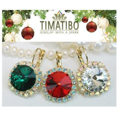 Swarovski Crystal Christmas Earrings Drop Rhinestones Earrings Gift For Her Red Green White AB Christmas Jewelry Gift 14mm Halo,Gold,GE110