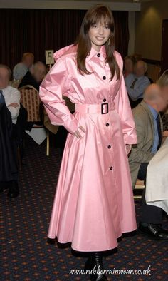 Soft and rustly pink satin mackintosh. Pink Raincoat, Raincoat Jacket, Rain Fashion, Latex Fashion, Mackintosh Raincoat, Rubber Raincoats, Valentino, Raincoats For Women, Rain Wear