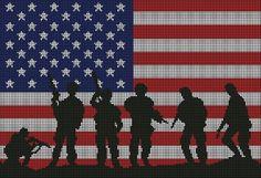 American Flag Blanket, American Flag Waving, American Flag Wood, Rag Quilt Patterns, Afghan Crochet Patterns, Cross Stitch Patterns, C2c Crochet, Filet Crochet, Afghan Stitch