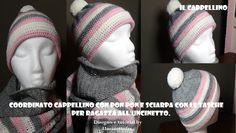 cappellino con pon pon per ragazza all'uncinetto tutorial (con sciarpa c...