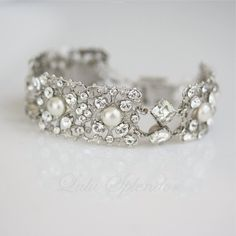 Art Deco Wedding Bracelet Bridal Bracelet  by LuluSplendor on Etsy, $85.00