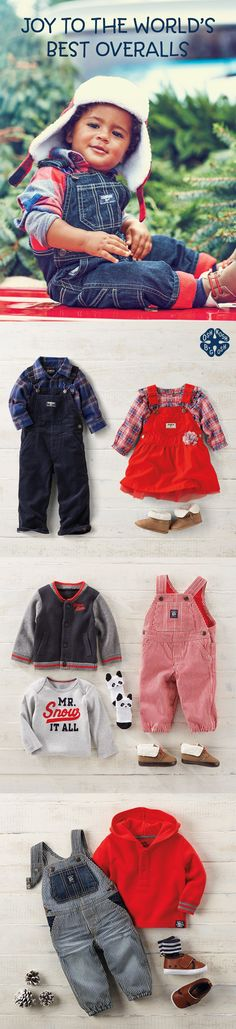 JOY TO THE WORLD'S BEST OVERALLS: 'Tis the season for fleece-lined overalls, flannel shirts & a something fancy for her. Plus, hickory stripes make everything nice! Shop more classic and trend-right kids clothes at OshKosh.