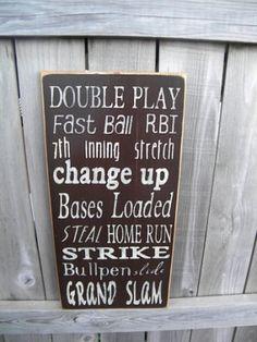 Baseball Typography Sign subway sign on Etsy, $30.00