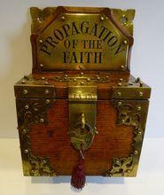 Antique English Oak & Brass Mission Collection Box c.1860