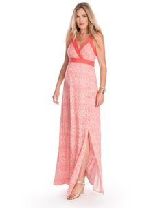 Soft stretch jersey   Empire sash ties   Discreet elasticated back    A summer staple, our Aztec Maternity Maxi Dress is made for sun, sea and sand. Crafted in soft stretch jersey, it drapes beautifully to the ground, elongating your silhouette and offering a flexible fit for every stage of pregnancy. Solid coral straps and sash ties highlight the empire waist, providing the perfect contrast to the stunning Aztec print, while a sexy split to the knee completes the look.