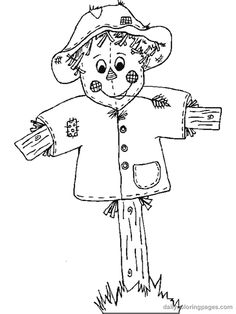 scarecrow coloring pages   Scarecrow Coloring Pages