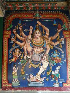 """danielwamba: """" paintings from old India temple Nataraja painting from Ucchi Pillayar Temple, Rockfort """" Shiva Tandav, Shiva Art, Krishna Art, Hindu Art, Krishna Leela, Radhe Krishna, Hanuman, Mysore Painting, Kerala Mural Painting"""