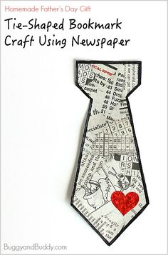 Father's Day Craft for Kids: Homemade Tie Bookmark Using Tear Art (Perfect for preschoolers and kindergarteners!) ~ BuggyandBuddy.com