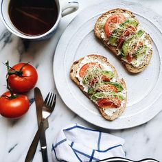 Favorite weekday lunch: ricotta, tomatoes, avocado, and sprouts on toast 😍 #lunch #onthetable #tartineaddict