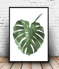 Monstera Poster, botanische Kunst, Nordisches Design, Boho chic, Wanddekoration, innere Wandkunst, moderne Kunst, Aquarell Druck, Aquarellzeichnung von Wallzilla auf Etsy https://www.etsy.com/de/listing/266621611/monstera-poster-botanische-kunst