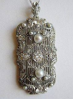 Antique Victorian Fine Platinum Diamond Pearl Filigree Necklace Pendant 10.3g