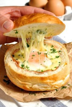 Cheesy ham and egg bread bowls