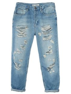 Topshop HAYDEN Jeansy Relaxed fit light denim
