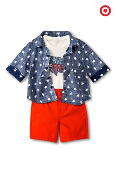 This July 4th, your baby boy will proudly wear red, white and blue. This Genuine Kids from OshKosh 3-piece outfit, available only at Target, includes an all-American graphic-print bodysuit, a star-studded blue button-down shirt and red shorts. Each piece is made of pure, breathable cotton, so your little one will stay comfy from parade to picnic to fireworks.