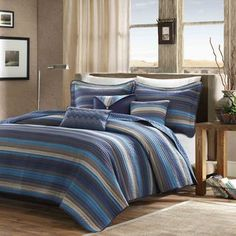 Madison Park Harley Blue Quilted 6-piece Coverlet Set | Overstock.com Shopping - The Best Deals on Quilts