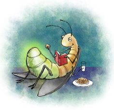 lightening bug enjoys a good read, milk, and cookies