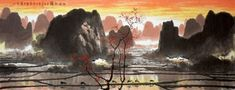 Chinese Village Countryside Painting,70cm x 180cm,1095530-x