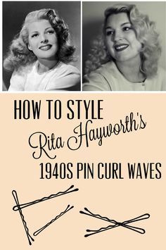 Tutorial: Rita Hayworth Pin Curl Waves Rita Hayworth waves hair tutorial from Va-Voom Vintage Vintage Hairstyles Tutorial, 1940s Hairstyles, Trendy Hairstyles, Wedding Hairstyles, Quinceanera Hairstyles, Hairstyle Tutorials, Modern Haircuts, Homecoming Hairstyles, Rita Hayworth