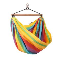 IRI rainbow hammock chair is made from pure, highest-quality, non-recycled cotton: hard-wearing and fuzz-free. A perfect place for relaxation, reading or just hanging out.