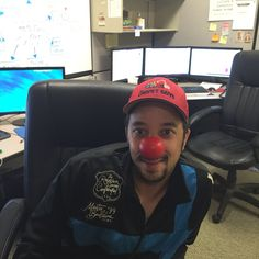 Derek of The Carpet Guys having fun sharing the message #RedNoseDay #RedNoseDay2015