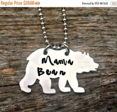 Mama Bear, Mom's Necklace, Mothers Day Gift, Baby Shower, Pregnancy Jewelry, Hand Stamped Necklace, Personalized Present, Mommy and Me, Kids