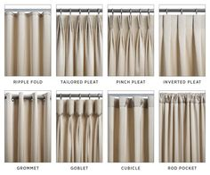 different type of drapery pleats drapery panels pinterest window curtain ideas and window. Black Bedroom Furniture Sets. Home Design Ideas