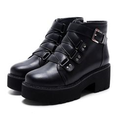 Punk Gothic Womens Block Heel Buckle Platform Ankle Boots Faux Leather Shoes