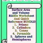 Surface Area and Volume Riddle Worksheets and Quick Reference Bundle  This product contains five of my best selling Riddle Worksheets and my Quick ...