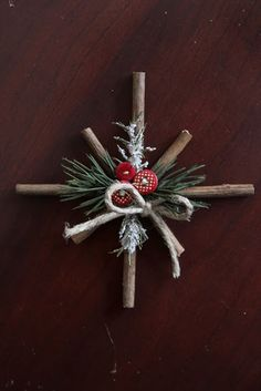 Materials needed to create Rustic Snowflakes:      - Twigs      - Hot Glue Sticks      - Hot Glue Gun      - Pruning shears or really sh...