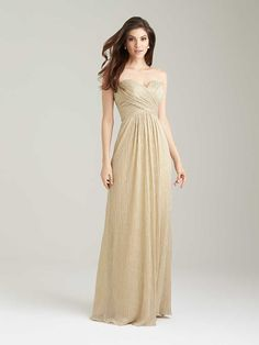Allure 1474 is a floor length strapless shimmer knit bridesmaid dress with crossover ruched bodice. Metallic threading incorporates shimmer into the classic silhouette of this dress. Allure Bridesmaid Dresses, Gold Bridesmaids, Bridal Dresses, Prom Dresses, Junior Bridesmaids, Pageant Dresses, Evening Dresses, Staubige Rose, Dusty Rose