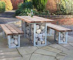 Gabion picnic table and bench set