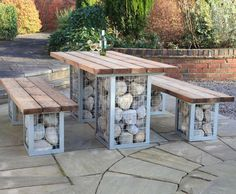 Gabion picnic table and bench set