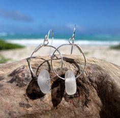 Hawaiian Clear Beach Glass on Silver Plated Circular Wire Small Hoop Earrings by LindseysBeachGlass, $28.00