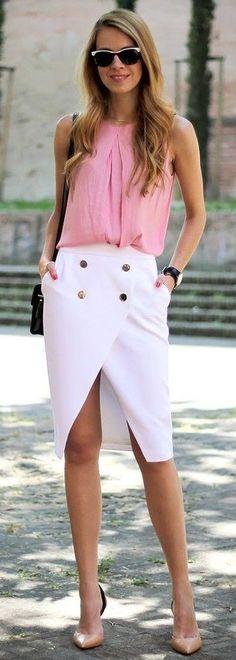 #spring #fashion   Pink + Crossover Skirt  Karamode