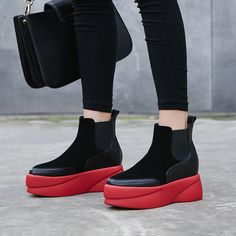 Chiko Chennel Flatform Chelsea Ankle Boots feature round toe, elastic on the side for easy slip on and off, flatform rubber sole.