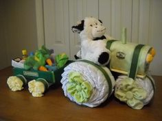 John Deere Tractor and Wagon Diaper Cake by ShelvasDiaperCakes, $75.00