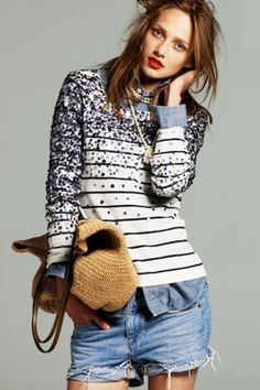 Graduated #MondaySequins on a Breton stripe? With cut-offs? Hello heaven!