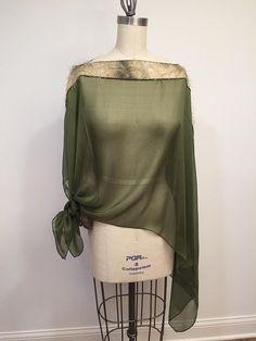 9b06489b1da58 Asymmetric Green Silk Chiffon Poncho, Light Weight, Wrap, Plus Size, One  Size, Eyelashis Trim, Shawl, Cape