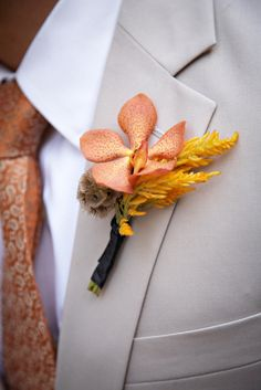 orange and yellow boutonniere for a fall vineyard wedding Boutonnieres, Orchid Boutonniere, Groom Boutonniere, Yellow Boutonniere, Wedding Men, Wedding Groom, Fall Wedding, Our Wedding, Dream Wedding