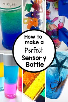 How to Make a Perfect Sensory Bottle - Preschool Inspirations Tips and tricks from a sensory bottle addict! Ideas on how to make a perfect, easy, diy sensory bottle. Sensory Bottles Preschool, Sensory Tubs, Sensory Boxes, Baby Sensory, Preschool Science, Sensory Activities, Infant Activities, Sensory Play, Activities For Kids