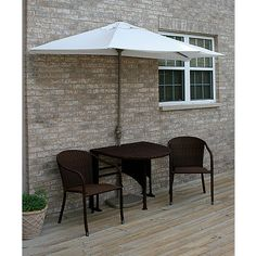 Terrace Mates Adena All-Weather Wicker in Java 9 Ft. Natural Olefin Set (Natural / Java) (See Description)