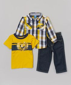 Love this Yellow & Navy Button-Up Shirt Set - Infant & Toddler by Phat Farm on #zulily! #zulilyfinds