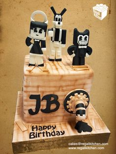 Minecraft Bendy and the Ink Machine Cake | Bendy, Boris the Wolf, Alice Angel Cake Toppers | Cakes by The Regali Kitchen
