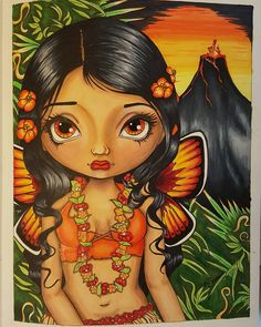 My version of the volcano Fairy. I used hot colors for her. From:Jasmine Becket-Griffith's Coloring book a fantasy art adventure Media: copic markers and prismacolor pencils with white gel pen #jasminebecketgriffith #adultcoloringbook #coloringforadults #volcanofairy #jasminebecketgriffithcoloringbook #jasminebecketgriffithproject