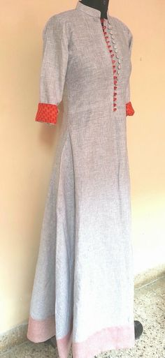 Linen kurti with orange details Salwar Designs, Kurti Neck Designs, India Fashion, Ethnic Fashion, Indian Attire, Indian Wear, Indian Dresses, Indian Outfits, Elegant Dresses