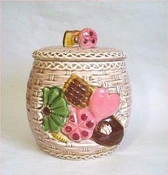 Vintage Basket Weave Cookie Jar
