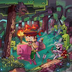 Стив из Minecraft скачет верхом на свинье по лесу полному опасностей — Рисунки на аву