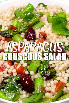 Healthy Couscous Salad with Asparagus is the perfect vegan side dish veganinthefreezer sides asparagus couscous salad couscousrecipes 195273333832694869 Pearl Couscous Salad, Israeli Couscous Salad, Couscous Salad Recipes, Healthy Salad Recipes, Vegetarian Recipes, Couscous Healthy, Pearl Couscous Recipes, Couscous Dishes, Mediterranean Couscous Salad
