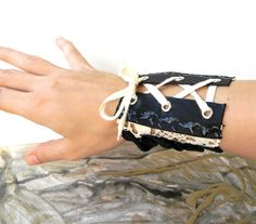 Wide Bracelet Cuff Textile Cuff Black and Cream by Elyseeart